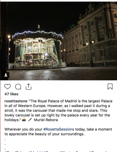Screen grab from IG post: The carrousel and the Palace - Madrid